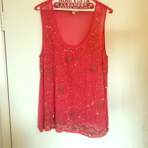 Coral beaded sleeve-less top
